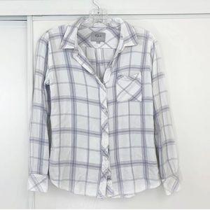 Rails Hunter White Lilac Plaid Button Down Shirt